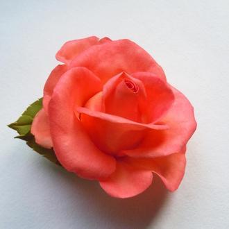Брошь-заколка Коралловая роза