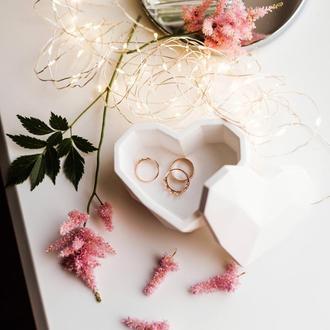 Бетонная шкатулка для украшений «Сердце»