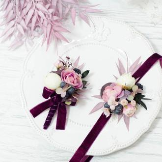 Комплект: бутоньерка и браслет. Фиолет