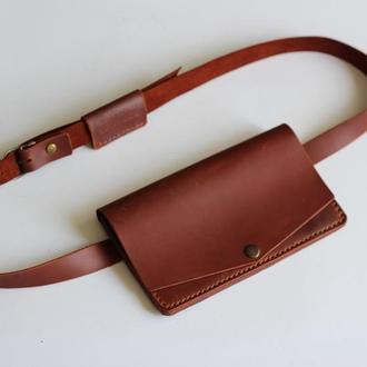 Женская кожаная поясная сумка\ сумка через плечо