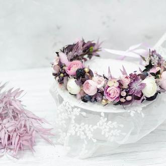 Венок фиолетовый с розовым