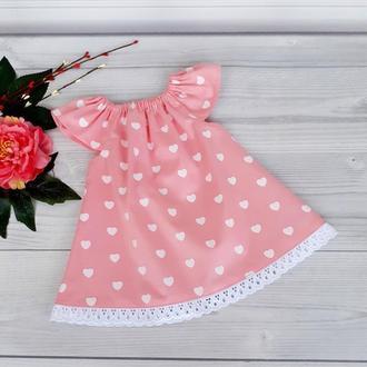 """Летнее хлопковое платье для девочки """"Сердца на розовом"""""""