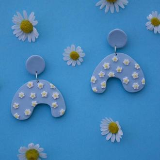 Цветочные летние серьги с ромашками, серьги из полимерной глины