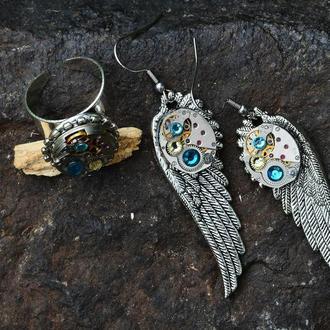 Крылья - серьги с часовыми механизмами (под заказ серьги, без кольца)