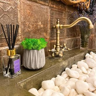 Бетонное кашпо со мхом, отличный декор в ванную