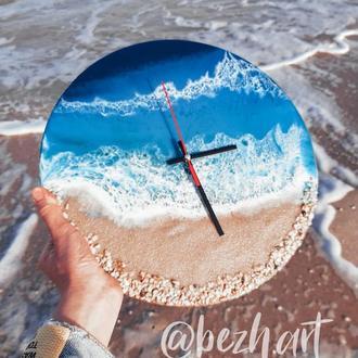 """Часы из эпоксидной смолы """"Морское побережье"""""""