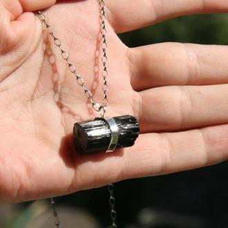 Серебряный кулон с шерлом, кулон с черным турмалином, подарок