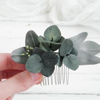 Гребешок с эвкалитом / Гребень для волос с зеленью