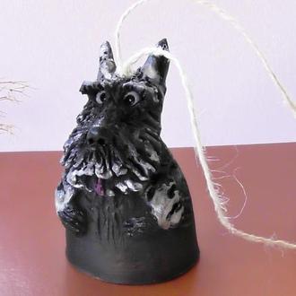 Колокольчик терьер №83 собака керамика