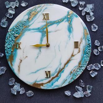 Настінні годинники з натуральним каменем. Безшумний механізм. Епоксидна смола.