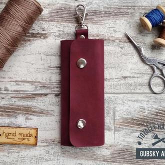 Ключница фиолетовая чехол для ключей 6 карабинов натуральная кожа