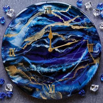 """Часы из эпоксидной смолы """"Морская пучина"""". Бесшумные настенные часы ручной работы."""