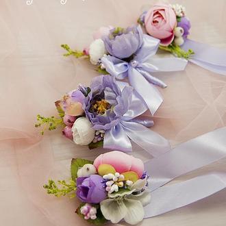 Бутоньерки лавандовые / Розово-фиолетовые бутоньерки / Цветы для свадьбы / Розовые цветы