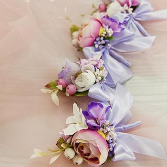 Бутоньерки для свидетелей розовые / Фиолетовые бутоньерки / Цветы для свадьбы / Лавандовые цветы
