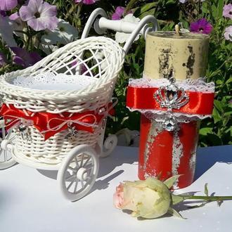 """Cвеча """"Первая любовь"""" из пчелиного воска с декором / Ароматизированная свеча"""