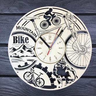 Круглі годинник з дерева на стіну «Велосипед»
