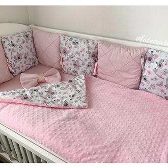 Комплект бортики в кроватку на 4 стороны, простынь на резинке, одеяло конверт