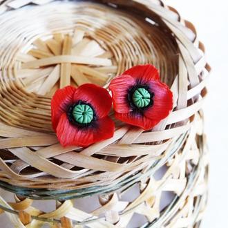 Серьги гвоздики красные маки, цветочные серьги, подарок девушке