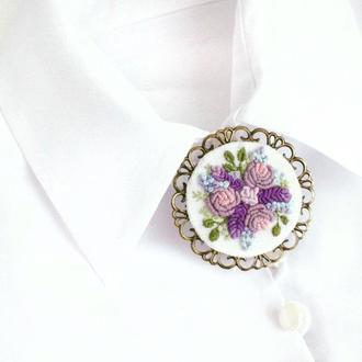 Большая брошь с цветами Брошь под воротник Брошка с розами и лавандой