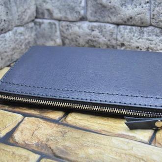 Кошелек-клатч из серой кожи сафьяно KLH02-gray