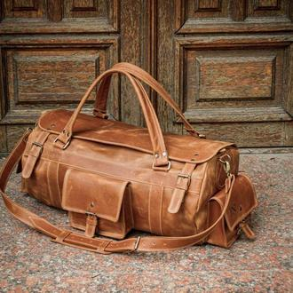 Стильная дорожная мужская кожаная сумка, Кожаная спортивная сумка мужская