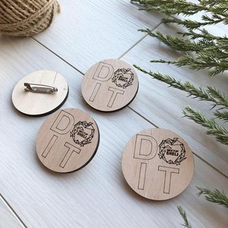 Круглые деревянные значки с логотипом на заказ