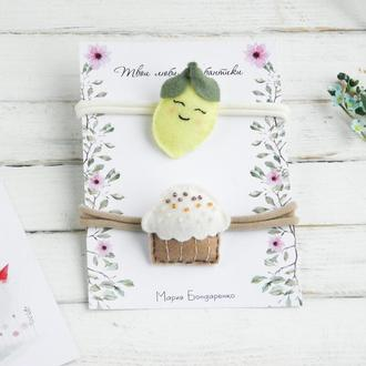 Повязка с кексом для малышки / Повязка с лимоном для девочки