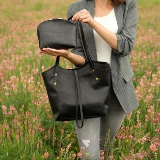 Кожаная сумка + косметичка