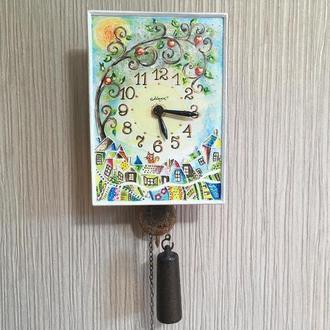"""Расписные часы.Часы ходики настенные механические """"Дерево Жизни"""" Роспись"""