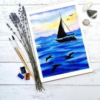 Акварельная иллюстрация, Море, Яхта, Корабль, Закат