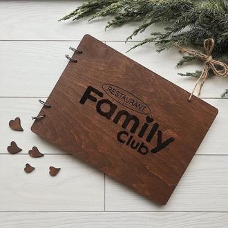 Стильна книга відгуків в дерев'яній обкладинці з логотипом на замовлення