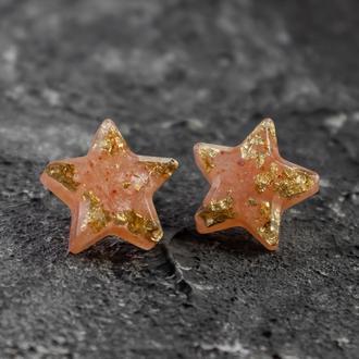Серьги звезды из эпоксидной смолы