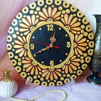Золотые часы Мандала, настенные, кварцевые