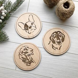 Необыкновенные деревянные подставки под горячее с милыми собачками