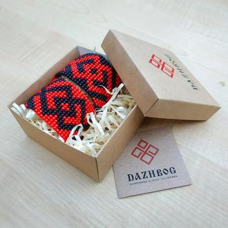 Два Браслета-Оберега Черно-Красные с Древнеславянскими Символами в Брендовой Коробочке