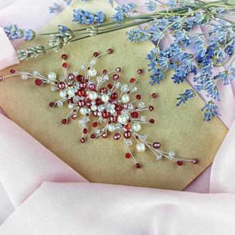 Свадебное украшение для волос, веточка в прическу, бордовое украшение в прическу, веточка для волос