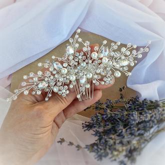 Свадебное украшение для волос, веточка в прическу, гребень в прическу, украшение в прическу