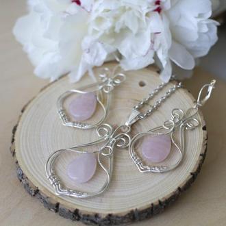 Посеребренный комплект с розовым кварцем