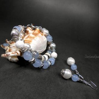 Комплект - браслет и серьги Наяда