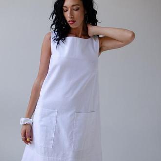 Платье из льна А-силуэта, цвет белый
