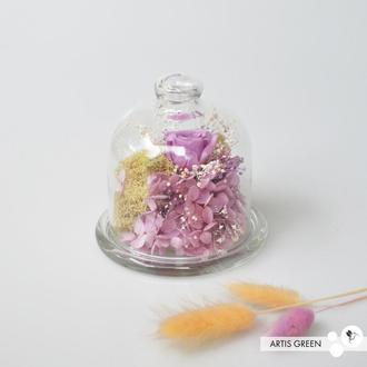 Колба со стабилизированными растениями и розой «Lilac flower» мини