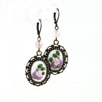 Длинные свадебные серьги с цветами Сиреневые серьги с розовым кварцем