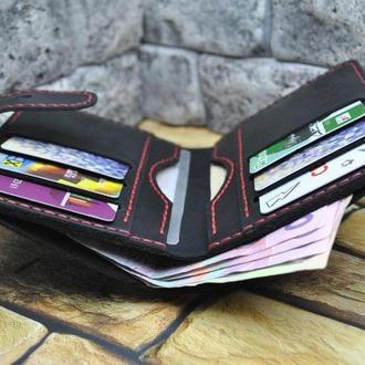 Вертикальный бумажник из натуральной кожи K62-0+red