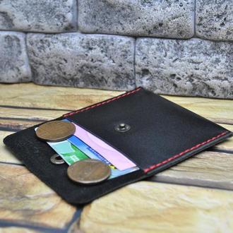 Мини кошелек из кожи K98-black+red