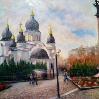 "Картина, масло,холст""Площадь у Ангела"" н.Кропивницкий"