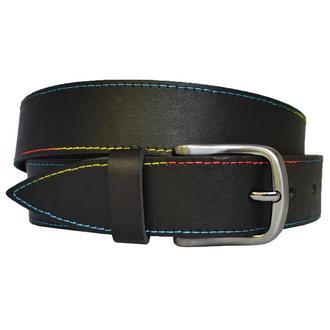 Rainbow38 кожаный женский ремень черный с разноцветной строчкой для джинсов