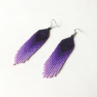 Фиолетовые серьги из бисера, серьги бахрома, серьги на подарок, лиловые серьги, бисерные серьги