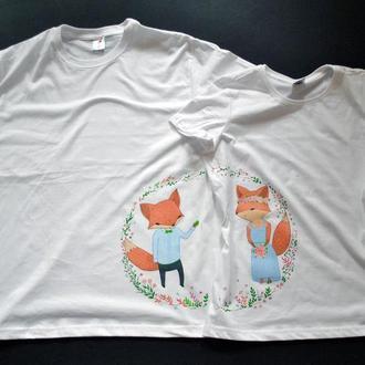 """Парні футболки з розписом """"Весілля лисів"""""""