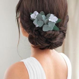 гребень с эвкалиптом и гортензией \ Гребешок для волос с цветами