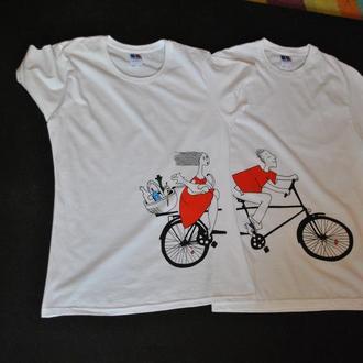 """Парные футболки с росписью акриловыми красками """"Вело"""""""